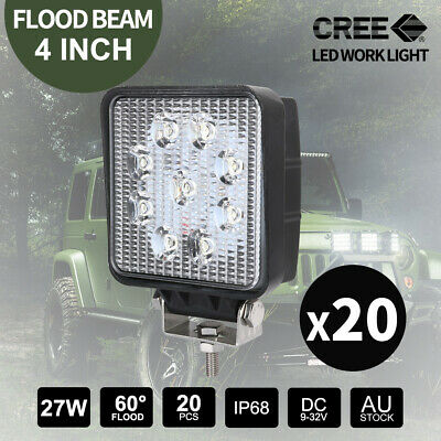 20x 27W CREE FLOOD LED Work Lights Bar Truck 4WD Camping Lamp 12V 24V Square 4""