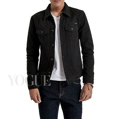 Mens Premium Black Denim Jeans Jacket Slim Fit Front Button Autumn Winter Coats
