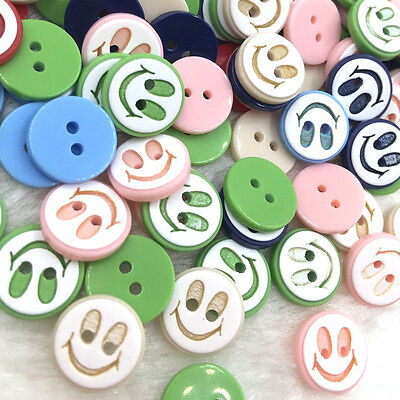 100pcs Mix Smile 12mm 2holes Plastic Button/Sewing lots PT129