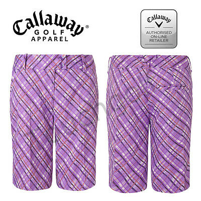 Callaway Women/Ladies Golf Shorts-BFBS5001- Atmosphere Plaid Printed Shorts-New.