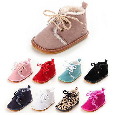 Warm BABY SHOES Infant Kid Toddler Newborn Boy Girl Soft Sole Laces Crib Sneaker