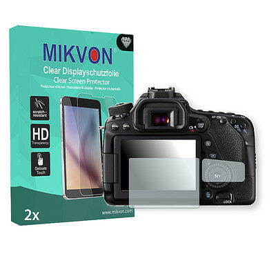 2x Mikvon Clear Screen Protector for Canon EOS 80D Retail Package + accessories
