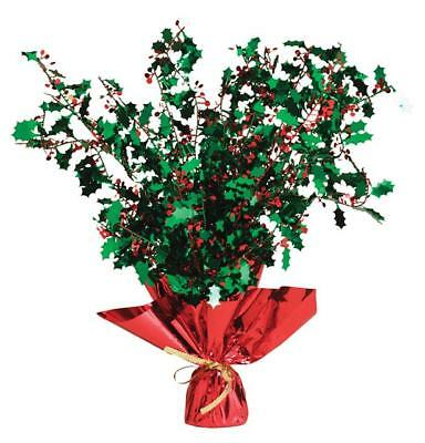 Christmas Holly Red & Green Weighted Spray Centrepiece