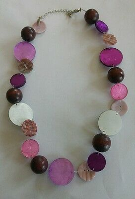 Vintage pink and purple lucite shell and wooden bead necklace
