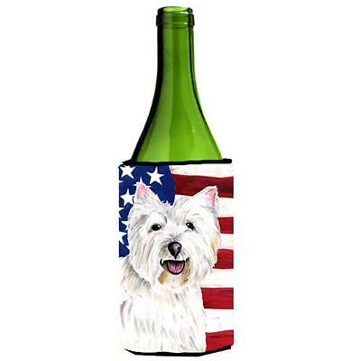 Usa American Flag With Westie Wine bottle sleeve Hugger 24 oz.