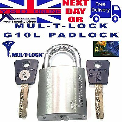 PADLOCK High Security Mul-T-Lock Garrison G10 Open & Closed Shackle C/W 2 Keys