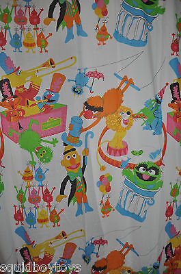 SESAME STREET Monster & Muppets CIRCUS Fitted & Flat BED SHEET  1980s Muppets