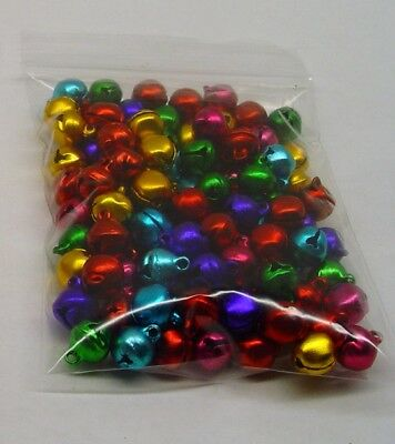 LOT 500 JINGLE BELLS ~ MIXED JEWEL Tones Christmas Color Beads Drops Charms 8mm