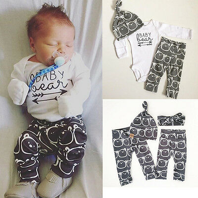 Spring Fall Baby Girls Boy Bear Outfits Clothes Cotton Romper Pants Hat 3PCS Set