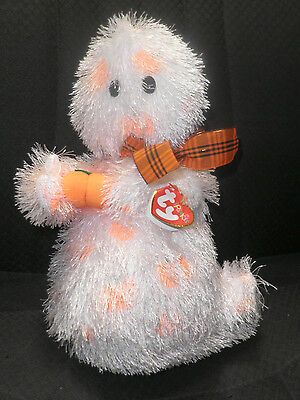 "10"" Shaggy Ty Punkies Plush Ghost SHRIEKERS with Pumpkin Halloween - NWT New"