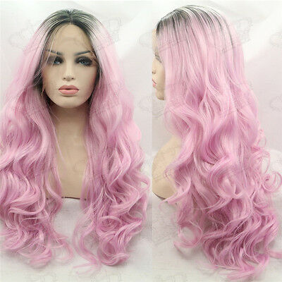 Ladies Ombre Black/Baby Pink Long Wavy Heat Resistant Synthetic Lace Front Wig