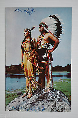 - WALKING SKY & KATERI Caughnawaga Indian Reserve Canada 1954 Postcard -