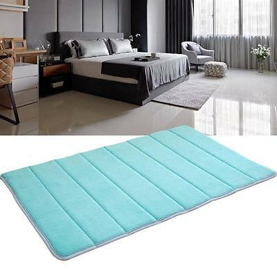 Memory Foam Bath Mat Absorbent Slip-resistant Pad Bathroom Kitchen Mats Blue SS