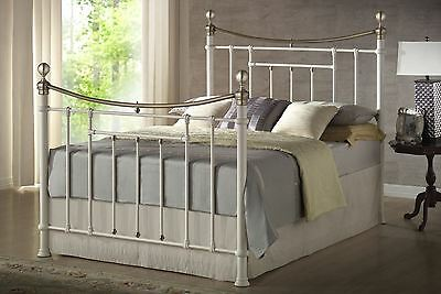 Birlea Bronte Metal Victorian Cream & Brass Bed Frame 150CM 5FT 5'0""