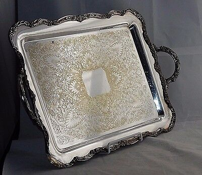 "ANTIQUE 1890's (EAGLE WM. ROGERS STAR) SILVERPLATE ORNATE BIG 22.5"" SERVING TRAY"