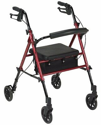 Adjustable Height Rollator With 6 inches Wheels Red Drive Medical RTL10261RD NEW