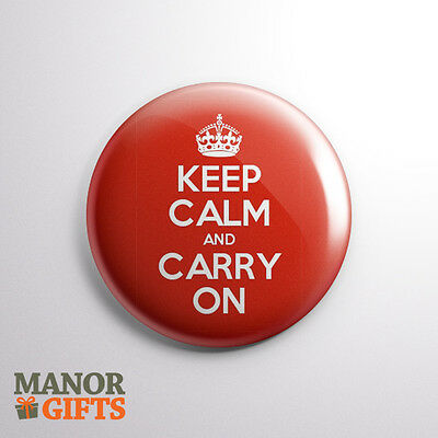 Classic Red Keep Calm And Carry On 25mm/1inch Button Badge