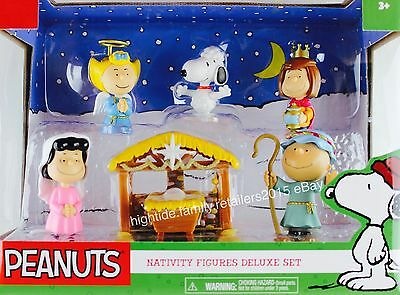 Peanuts Christmas Nativity Figures Deluxe Set Charlie Brown Snoopy Lucy Sally