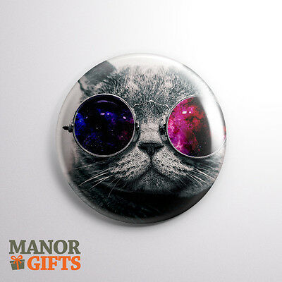 Cute Cat wearing 3D glasses 25mm/1inch Button Badge