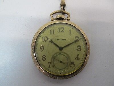 WALTHAM OPEN FACE POCKET WATCH w/ CHAIN