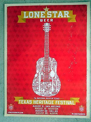 "Lone Star Beer New 18"" x 24"" Vinyl Color Poster ... Texas Heritage Festival"