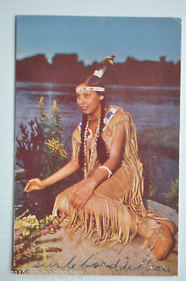 - KATERI Picking Herbs Caughnawaga Indian Reserve Canada 1950s Postcard -