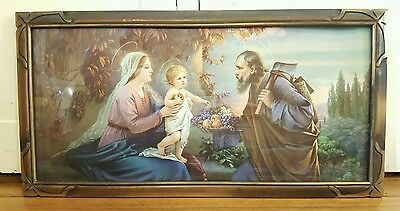 Vintage LARGE Holy Family Lithograph Fab Art Deco Frame 32x13 Carpenter w/Fruit