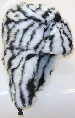 WHOLESALE  LOT  36 FLUFFY zebra TRAPPER PILOT HATS  £1.50  EACH