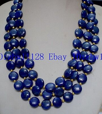 10mm 12mm 14mm Natural Blue Egyptian Lapis Lazuli Coin Necklace 18 Inch-100 Inch