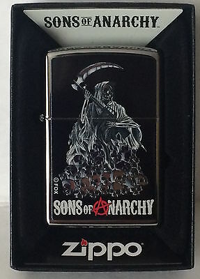 Zippo Sons Of Anarchy Lighter Chrome Grimm Reaper With Skulls, 46857, New In Box