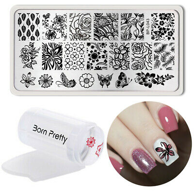 3Stk BORN PRETTY Nagel Stamping Schablone Platte mit Clear Jelly Stempel Stamper