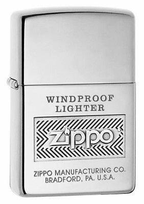 Zippo High Polished Chrome Windproof Lighter With Logo, 51152, New In Box