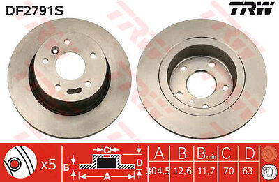 LAND ROVER DISCOVERY Rear Brake Discs (Pair) DF2791S TRW New