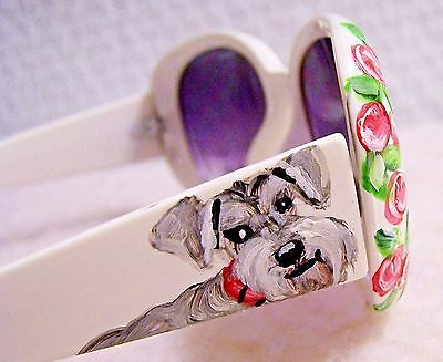 Schnauzer  sunglasses original brush art painting acrylic paint