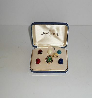 Vintage~Crown Trifari~Caged Ring~Changeable~Original Box~Tag