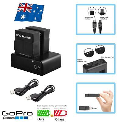 2X AHDBT-301 Battery Pack + 1 USB Dual Charger Kit For Go Pro HD GoPro Hero 3 3+