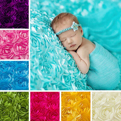 Newborn Baby Photography 3D Props Rug Photo Rose Flower Backdrop Blanket New