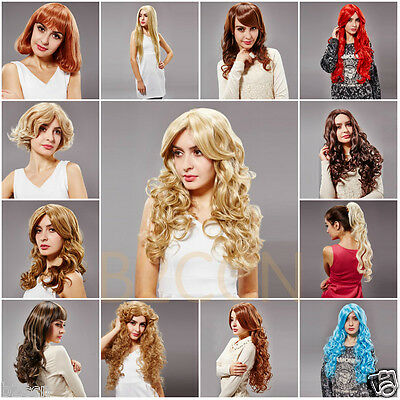Sexy Womens Colorful Long Curly Wavy Wigs Short Cosplay Wig Long Straight Hair