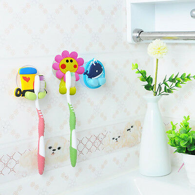 4 Style Cartoon Toothbrush Wall Holder Suction Cup Bathroom Sets Kids Family HOT