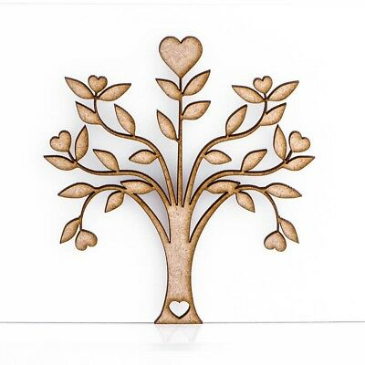 Wooden MDF Tree Heart Shape Sign Blank Family Tree Wedding Decoration 3mm Thick