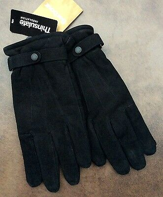 Barbour Black Leather Suede Thinsulate Gloves Bnwt Size Medium