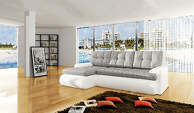 New Leather & Fabric Calasetta Corner Sofa Bed With Storage - White or Black