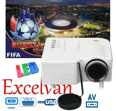 Excelvan Multimedia 3D 1500 Lúmenes LED Proyector HDMI AV VGA Home Cinema 100''
