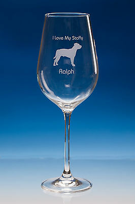 Staffordshire Bull Terrier  Personalised Fine Quality Wine Glass Dog Lover Gift