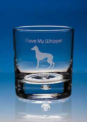 Whippet Dog Gift Engraved Glass Whisky Tumbler: Can Be Personalised Your Message