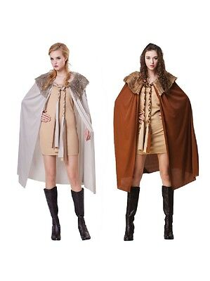 Ladies Fancy Dress For Game Of Thrones Cape With Plush Collar Deluxe Costume