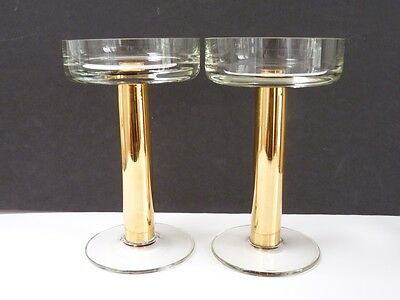 "Pair Brass & Glass Candlesticks 6.5""/14cm Tall Free P&P"