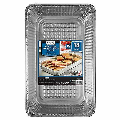 Daily Chef Aluminum Steam Table Pans Full Size Buffet Disposable (18 ct) NEW!