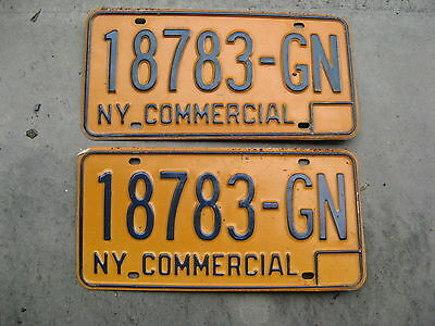 1973 73 - 1986 86 New York Ny License Plate Pair Yom 18783 Gn Commercial Set