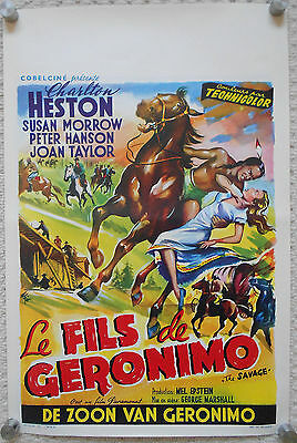 The Savage, Original Belgian Movie Poster, Charlton Heston, Susan Morrow, '52